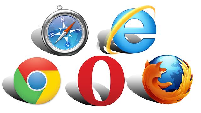kompas a loga různých internetových prohlížečů